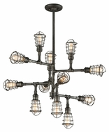 Troy F3817 Conduit Old Silver Finish 34.25 Wide Ceiling Chandelier