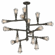 Troy F3818 Conduit Old Silver Finish 35.75 Tall Hanging Chandelier