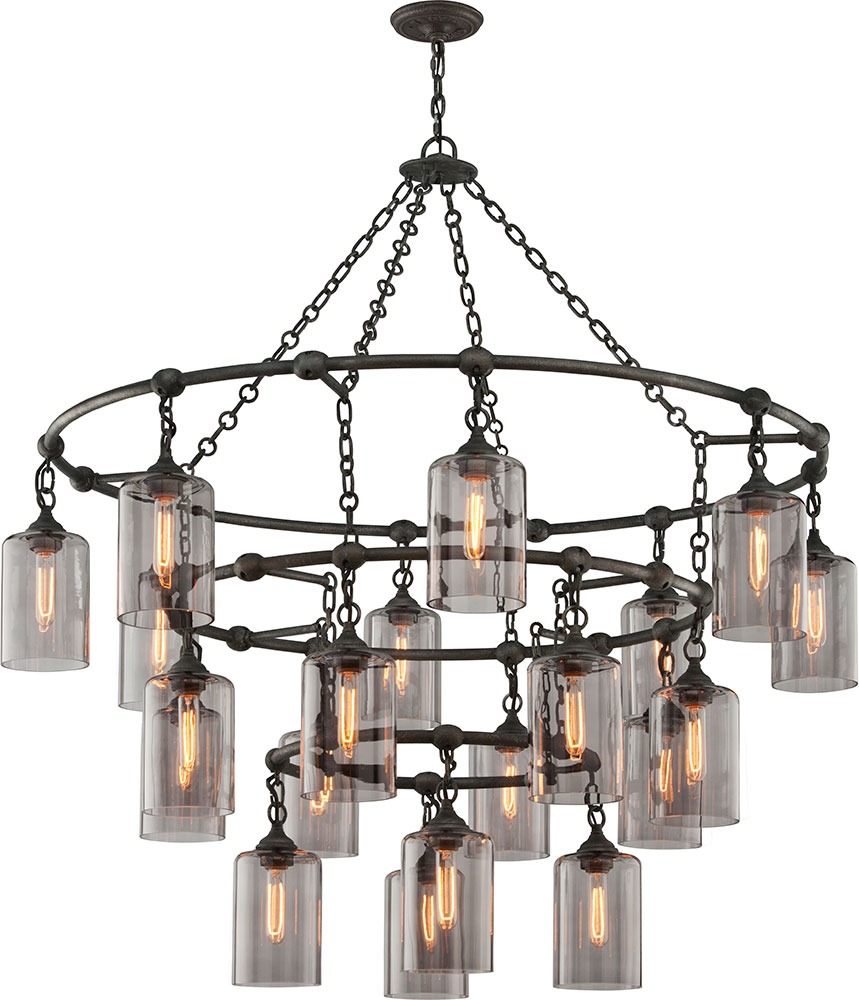 Troy F4426 Gotham Hand Worked Wrought Iron Chandelier ...