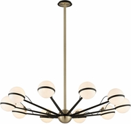 Troy F5306 Ace Contemporary Textured Bronze With Brushed Brass Halogen Large Ceiling Chandelier