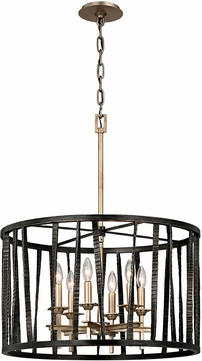 Troy F5896 Bastille Modern Pompeii Silver And Silver Leaf Drum Pendant Light Fixture