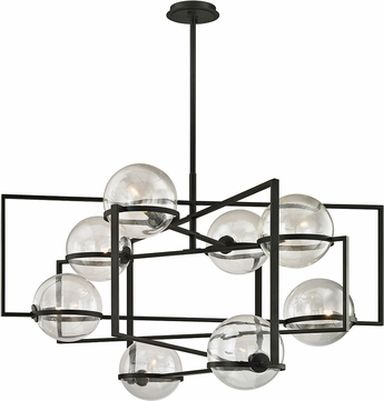 Troy F6228 Elliot Modern Black Xenon 44  Hanging Chandelier