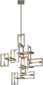 Troy F7109 Enigma Contemporary Silver Leaf w/ Stainless Accents Multi Pendant Lamp