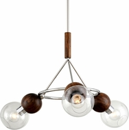 Troy F7673 Arlo Contemporary Polished Sterling Silver and Natural Acacia 35.5  Chandelier Light