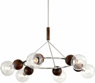 Troy F7676 Arlo Contemporary Polished Sterling Silver and Natural Acacia 46  Chandelier Lighting