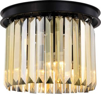 Urban Classic 1238F12MB-GT-RC Sydney Matte Black 12  Flush Mount Ceiling Light Fixture