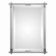 Uttermost 01127 Adara Polished Chrome Plated Finish 36 Tall Modern Ribbed Glass Wall Mirror