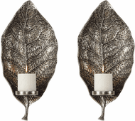 Uttermost 04138 Zelkova Modern Antiqued Silver Candle Sconces