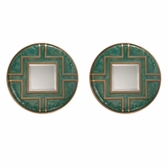Uttermost 09069 Amina Contemporary Pale Blue-Green Round Wall Mirror