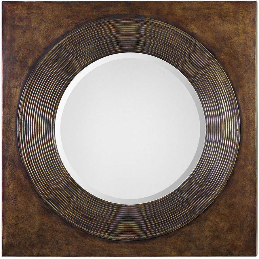 Uttermost 09163 Eason Golden Bronze Round Wall Mirror