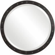 Uttermost 09454 Beldon Lightly Oxidized Dark Bronze Round Industrial Mirror