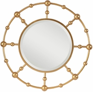 Uttermost 09457 Selim Round Contemporary Hand Applied Metallic Gold Leaf Round Gold Mirror