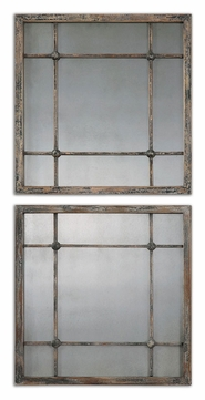 Uttermost 13845 Saragano 19 Inch Tall Distressed Slate Blue Mirror 2-Pack