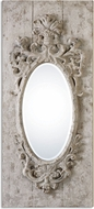 Uttermost 13927 Guardia Gray Ivory / Burnished Gold Leaf Gray-Ivory Oval Mirror