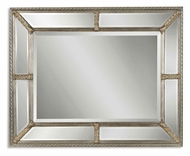 Uttermost 14048-B Lucinda Beveled 49 Inch Tall Antiqued Silver Leaf Finish Segmented Mirror