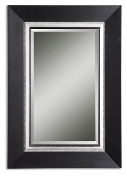 Uttermost 14153-B Whitmore Matte Black Wood Frame 39 Inch Tall Wall Mirror