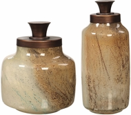Uttermost 17519 Elia Modern Bronze Metallic Glass Containers (set of 2)