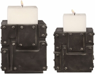 Uttermost 18649 Malak Oiled Steel Patina Metal Block Candleholders (set of 2)