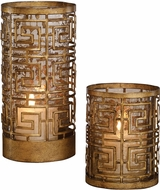 Uttermost 18953 Ruhi Contemporary Heavily Antiqued Gold Hurricane Candleholders (set of 2)