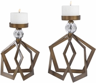Uttermost 18973 Lianna Contemporary Heavily Antiqued Bronze Open Bronze Candleholders (set of 2)