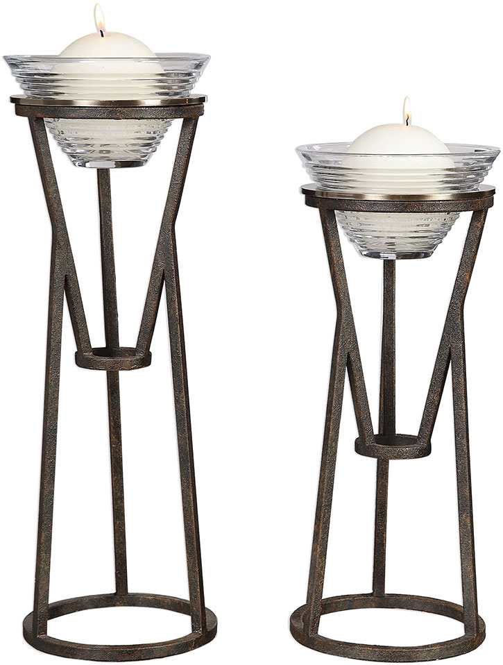 Pleasing Uttermost 18980 Lane Modern Aged Oil Rubbed Bronze Iron Candleholders Set Of 2 Creativecarmelina Interior Chair Design Creativecarmelinacom