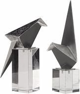 Uttermost 18993 Origami Bird Contemporary Silver Leaf Figurines (set of 2)