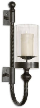 Uttermost 19476 Garvin Twist Contemporary Black Candle Sconce