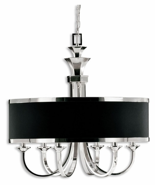 Uttermost 21130 Tuxedo Silver Plated 28 Inch Diameter 6 Light Chandelier Lamp - One Shade