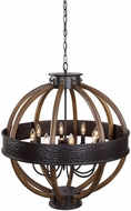 Uttermost 21322 Bowdon Modern Aged Bronze And Wood Pendant Lighting