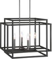 Uttermost 21528 Quadrangle Contemporary Black & Polished Nickel Drop Lighting