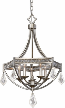 Uttermost 22081 Tamworth Burnished Silver Champagne Leaf Foyer Lighting Fixture