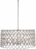 Uttermost 22129 Maille Contemporary Silver Leaf Drum Pendant Lighting Fixture