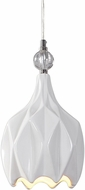 Uttermost 22165 Maleny Polished Nickel And Glossy White Ceramic Mini Pendant Hanging Light