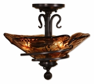 Uttermost 22269 Vitalia Bronze 14 Inch Tall Semi Flush Mount Ceiling Lighting Fixture With Toffee Art Glass