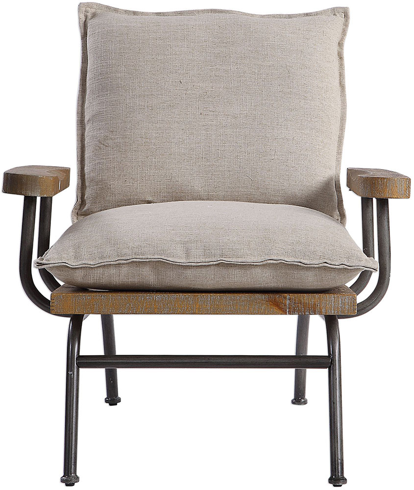 Uttermost 23475 Declan Natural Weathered Oak Industrial Accent Chair Loading Zoom