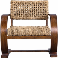 Uttermost 23483 Rehema Weathered Pecan Stain Rehema Natural Woven Accent Chair