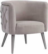 Uttermost 23508 Haider Brushed Nickel Tufted Accent Chair