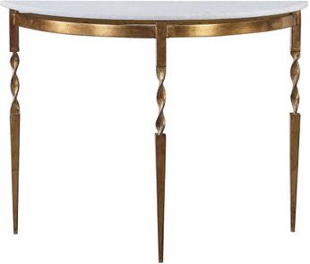 Uttermost 24881 Imelda Heavily Antiqued Gold Demilune Console Table