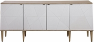 Uttermost 25101 Tightrope Contemporary White and Wood Cabinet