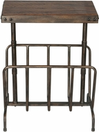 Uttermost 25326 Sonora Distressed Warm Walnut Stain Sonora Industrial Magazine Side Table