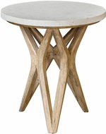 Uttermost 25437 Marnie Warm Oatmeal Wash Limestone Accent Table
