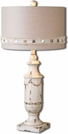 Uttermost 26198-1 Lacedonia Distressed Antiqued Ivory Finish 31 Tall Lighting Table Lamp
