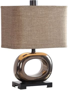 Uttermost 26221-1 Feldman Contemporary Metallic Bronze Glaze Table Lamp