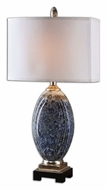 Uttermost 26298-1 Latah Mottled Blue Transitional 30 Inch Tall Bed Lamp