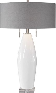 Uttermost 26409 Laurie White / Brushed Nickel Plated Table Light