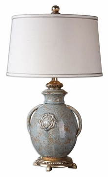 Uttermost 26483 Cancello Distressed Light Blue 28 Inch Tall Ceramic Table Light