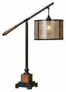 Uttermost 26760-1 Sitka Black And Wooden Hanging Drum Table Light With Mica Shade