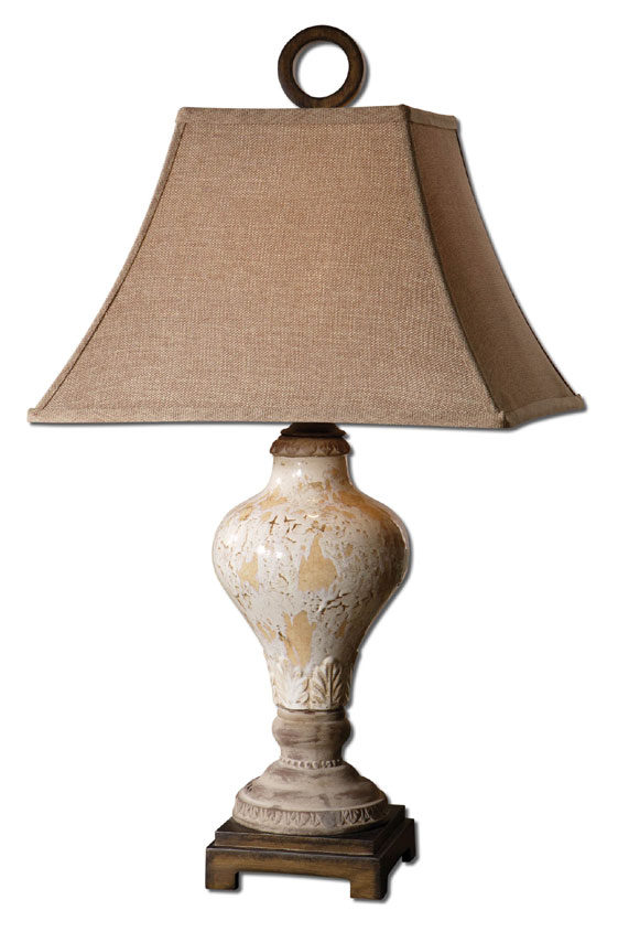 Uttermost 26785 Fobello Distressed Ivory Ceramic Table Lamp Lighting