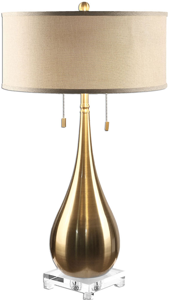 Uttermost Lagrima Plated Brushed Brass Side Table Lamp UTT - Brushed brass side table