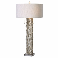Uttermost 27177-1 Silver Bamboo Antiqued Metallic Silver Lighting Table Lamp